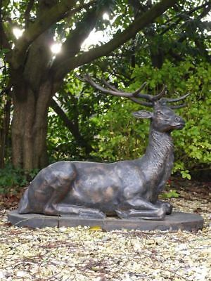 £933.99 • Buy Majestic Laying Stag Finished In Bronze - Garden Statue