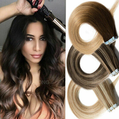 Russian Tape In Human Remy Hair Extensions Ombre Brown Blonde THICK 40PCS/100G • 29.49£