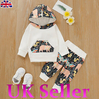 UK Baby Infant Boys Toddler Animal Print Hooded Tops Hoodie Long Pants Outfits • 6.61£