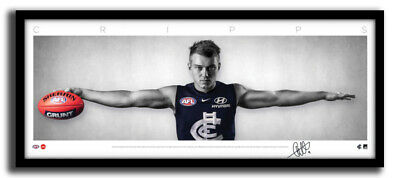 AU195 • Buy Patrick Cripps Mini Wings Carlton Fc Afl Print Signed Framed Memorabilia