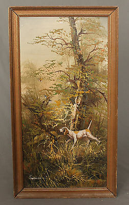 Vintage Oil Painting Pointer Hunting Shooting Interest • 185£