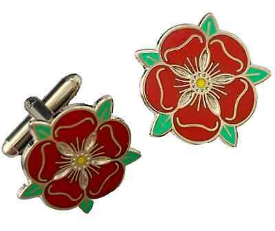 Lancashire Red Rose Small Enamel Crested Cufflinks (N27) Gift Bagged • 18.99£