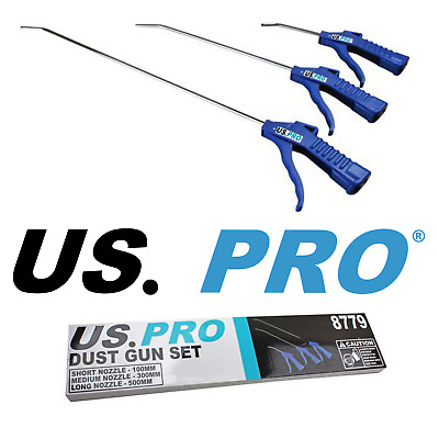 3pc AIR BLOW GUN SET LONG REACH COMPRESSED AIR DUSTER NOZZLES By US PRO TOOLS • 10.70£