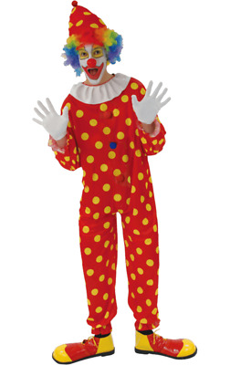 £13.75 • Buy Red Polka Dot Clown Costume Yellow Spotty Jumpsuit Circus Carnival Fancy Dress