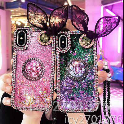 AU12.98 • Buy Bling Dynamic Liquid Quicksand Ring Holder Stand Soft Back Phone Cover Cases E