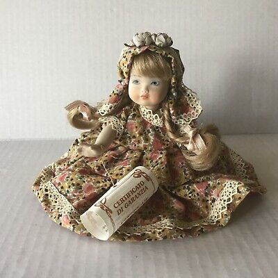 """$ CDN55 • Buy  Vtg. Italian Porcelain Girl Doll Jointed Hand Painted 7"""" Tall With COA Label"""
