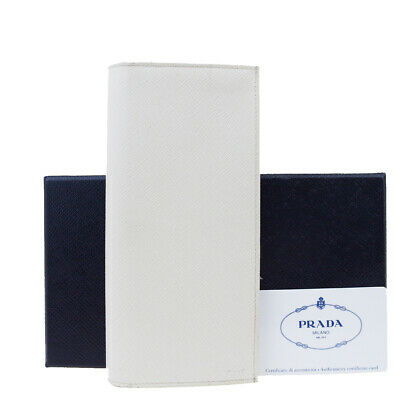 Auth PRADA MILANO Logos Long Bifold Wallet Purse Leather White Italy 02ET433 • 93.83£