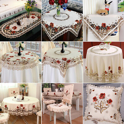 White Embroidered Lace Tablecloth Floral Table Runner Doily Wedding Party Satin • 4.99£
