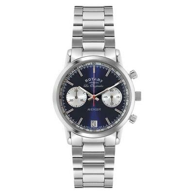 Rotary Men's Quartz Watch With Blue Dial Chronograph Display And Silver Stainles • 270£