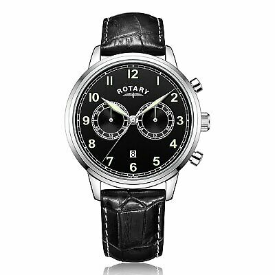 Rotary Men's Quartz Watch With Black Dial Chronograph Display And Black Leather • 575.99£