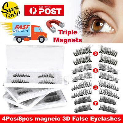 AU8.99 • Buy Magnetic Eyelashes With 3 Magnets Handmade 3D Natural False Lashes & Tweezer