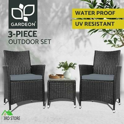AU226.20 • Buy Gardeon Patio Furniture 3 Piece Outdoor Setting Bistro Set Chair Table Wicker