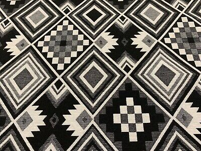 Traditional Aztec  Black & White Tapestry Designer Curtain/Upholstery Fabric  • 20£