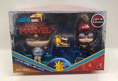 $ CDN43.72 • Buy Hot Toys Cosbaby Captain Marvel & Movbi Collectible Figure Set Light Up Function