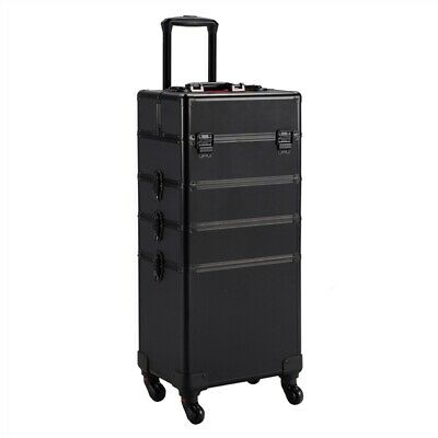 $124.99 • Buy 4 In 1 Aluminum Cosmetic Case Professional Makeup Train Case Trolley Makeup Case