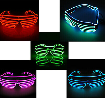 Neon El Wire LED Light Up Shutter Flashing Glasses Eyewear For Nightclub Party • 5.99£