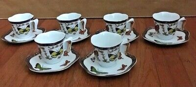 Set Of 6 Espresso Coffee/Tea Cups & Saucers-China-Butterflies W/Gold Trim-CC&T • 42.18£