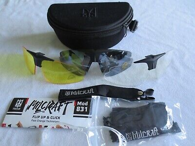 Milcraft Black Frame Shooting Safety Sunglasses. New. With Case. • 39.99£