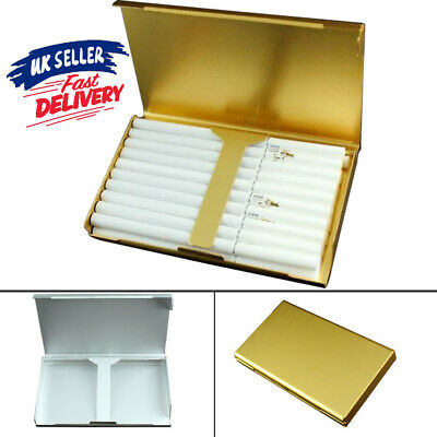 Elegant 20 Aluminum Wiredrawing Thin Box Holder Gold Slim Cigarette Case S6 • 3.99£