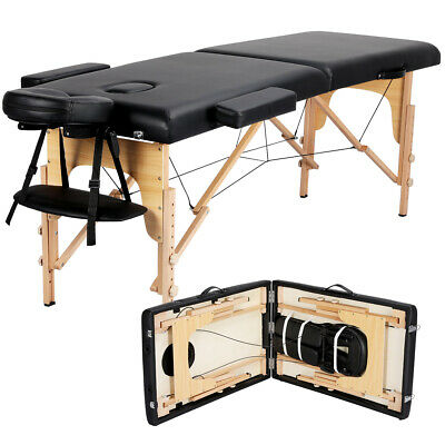 $84.99 • Buy 2-Fold Massage Table Adjustable Facial SPA Salon Bed Tattoo Chair Portable Black