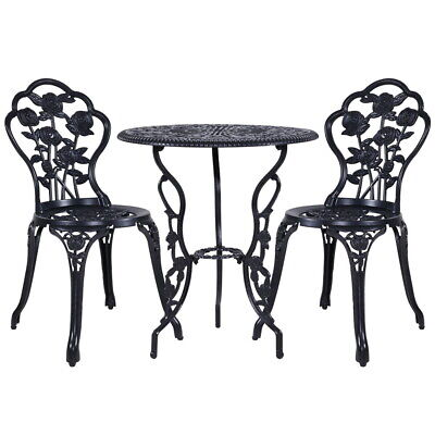 AU199.29 • Buy Gardeon 3PC Outdoor Setting Cast Aluminium Bistro Table Chair Patio Black