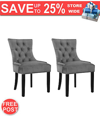 AU256.24 • Buy Artiss Set Of 2 Dining Chairs French Provincial Retro Wooden Velvet Fabric Grey