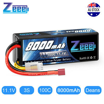 AU95.99 • Buy Zeee 8000mAh 100C 3S 11.1V LiPo Battery Dean Plug Hardcase For RC Truck Car Boat