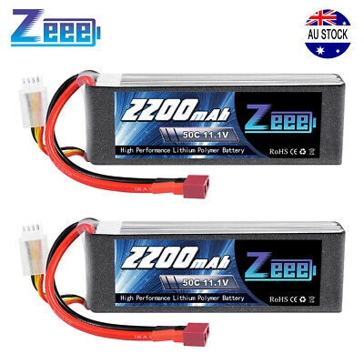 AU50.99 • Buy 2x Zeee 2200mAh 50C 11.1V 3S Deans Lipo Battery For RC Helicopter Airplane Car