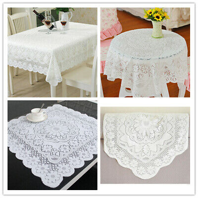 White Vintage Embroidered Lace Tablecloth Dining Table Cloth Mat Doilies Wedding • 3.28£