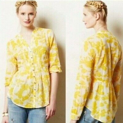 $ CDN35.24 • Buy Anthropologie Maeve Size 4 Peplum Woods White Yellow Floral