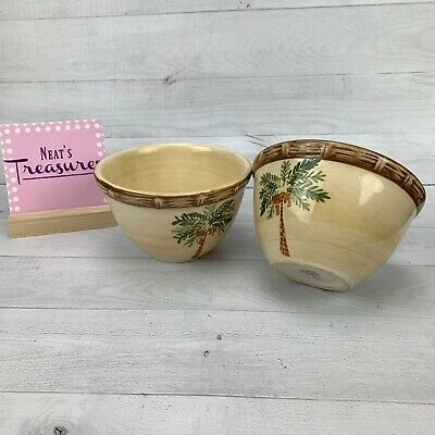 $13.59 • Buy Home Trends WEST PALM Tropical Bamboo Trim Rims Coconut Soup Cereal Bowl Set 2