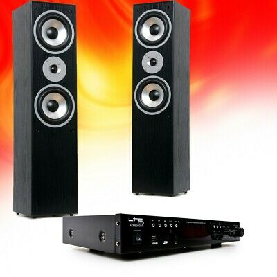 Hifi Home Theater Music System Bluetooth USB MP3 Amplifier Black Floor Boxes • 188.79£