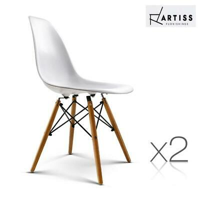 AU85.80 • Buy Artiss Retro Replica Eames DSW Dining Chairs Cafe Chair Kitchen Beech White X2