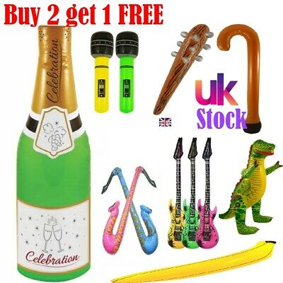 INFLATABLE Music Instruments Guitar Microphone Saxophone Neon Blow Up Lot NEW BK • 2.58£