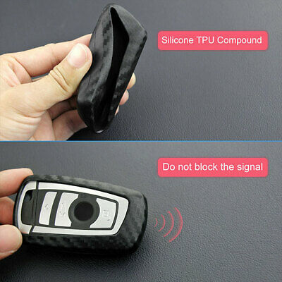 $13.71 • Buy Auto Car Carbon Fiber Look Key Case Square Holder Protector Accessories For BMW