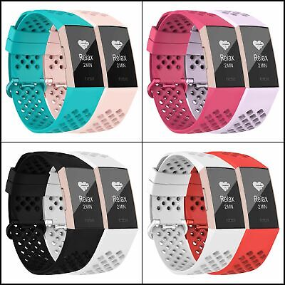 AU11.19 • Buy Bands For Fitbit Charge 3 & 3 SE Waterproof Breathable W Holes Wristbands 2 Pack