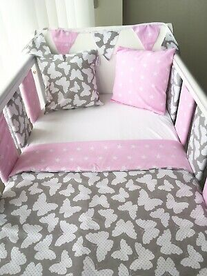 Handmade Cot Bedding Set Quilt Bumpers Bunting Cushion - Butterfly Pink Stars • 51.99£