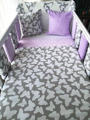 Handmade Cot Bedding Set Quilt Bumpers Bunting Cushion - Butterfly Purple Dimple • 54.99£