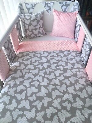 Handmade Cot Bedding Set Quilt Bumpers Bunting Cushion - Butterfly Pink Dimple • 54.99£