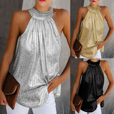 AU12.99 • Buy Womens Halter Neck Tank Tops Ladies Summer Casual Sleeveless T Shirt Blouse Vest