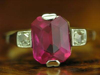 18kt 750 Bicolour Gold Ring With Diamond & 2,36ct Synth. Ruby Decorations/Rg 54 • 278.76£