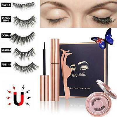 AU5.68 • Buy Magnetic Eyelashes 5 Type False Eye Lashes Extension Liquid Eyeliner And Tweezer