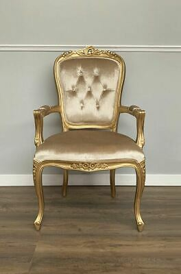 French Louis XV Elise Armchair  - Gold Frame   With Glamour Velvet Upholstery • 195£