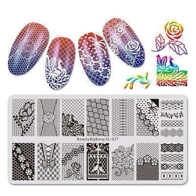 $5.63 • Buy 6*12cm Nail Art Stamping Plates Lace Flowers Design Polish Stamp Templates US