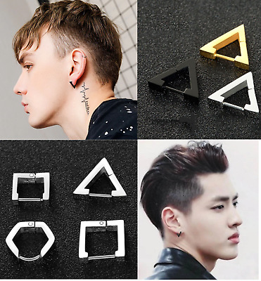 AU8.99 • Buy Stainless Steel Geometric Shape Hoop Huggies Sleeper Earring Triangle Square