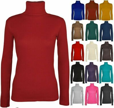 £3.98 • Buy Ladies Womens Polo Neck Turtle Roll High Neck Jumper Party Tops Size 6-24