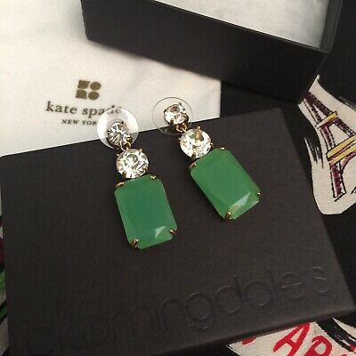 $ CDN78.67 • Buy Kate Spade Exquisite Opening Night Emerald Green Drop Earrings Clear Crystals