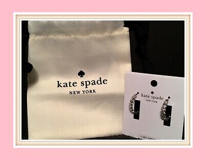 $ CDN46.23 • Buy NWT NEW Kate Spade New York Full Circle Huggie Earrings In Silver/Clear