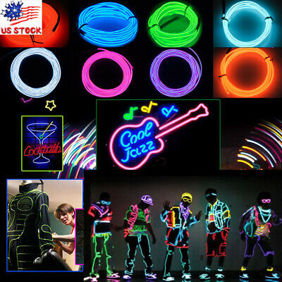 $8.20 • Buy LED Light Glow EL Wire String Strip Rope Neon Lamp Battery Power Party DIY Decor