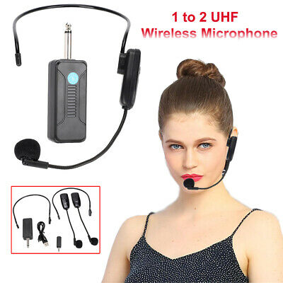 2X Wireless UHF Microphone Headset Audio Mic System Receiver For Voice Amplifier • 17.41£